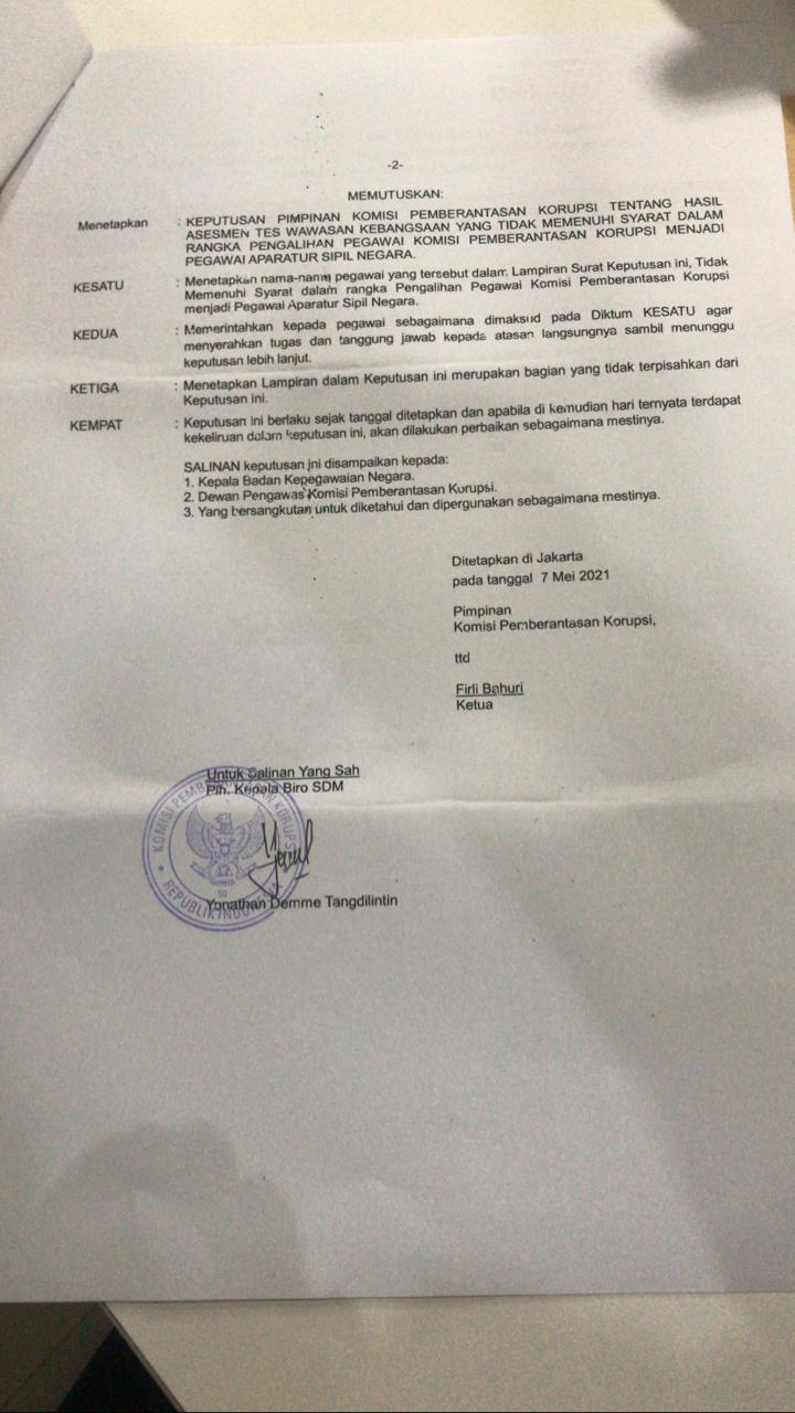 SK Penonaktifan 75 pegawai KPK. Foto: MP/Ponco