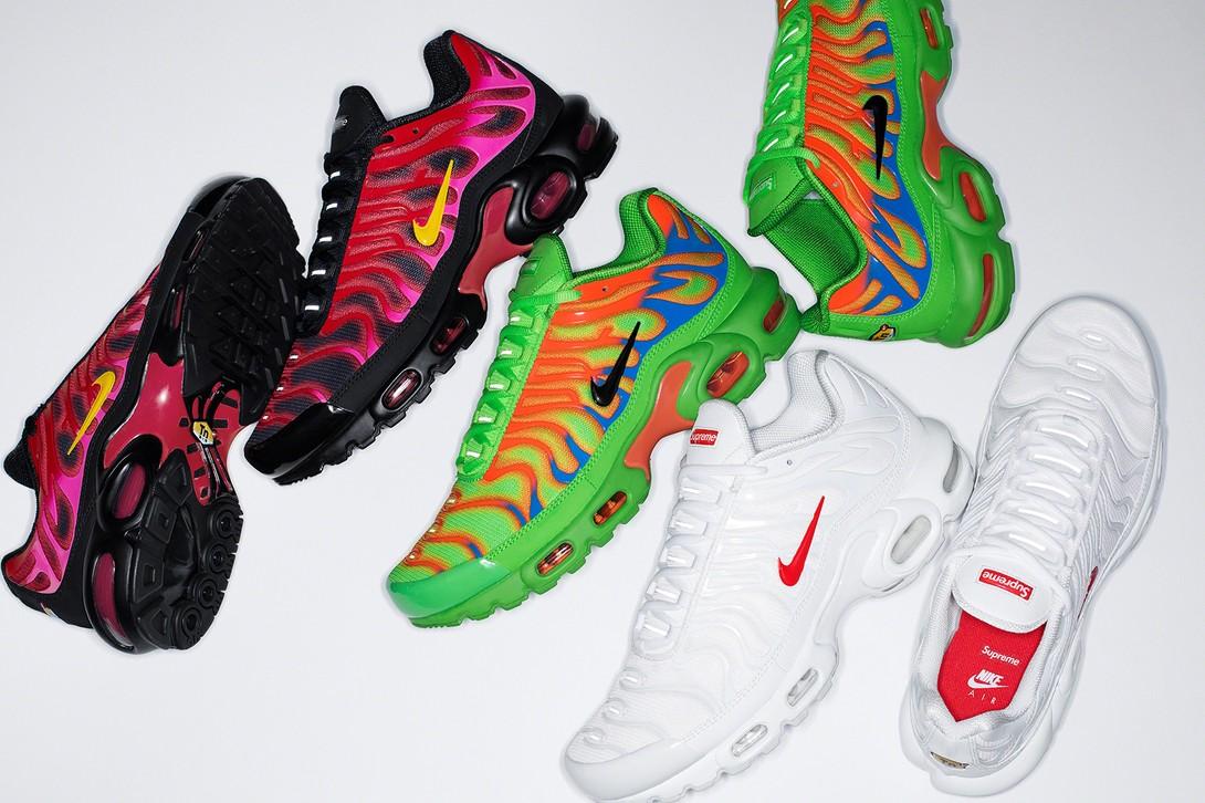 Ketiga pilihan warna Supreme x Nike Air Max Plus TN. (Foto Hypebeast)