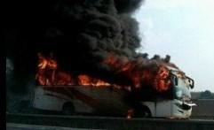 Bus Terbakar di Cipularang Jadi Tontonan Pengendara