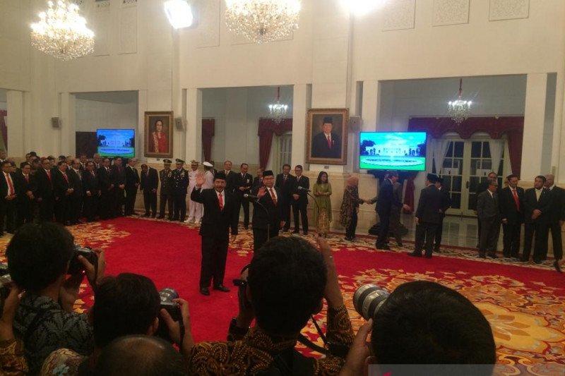 Yudian Wahyudi dilantik Presiden Jokowi sebagai Kepala BPIP di Istana Negara Jakarta, Rabu (5/2/2020) (Hanni Sofia)