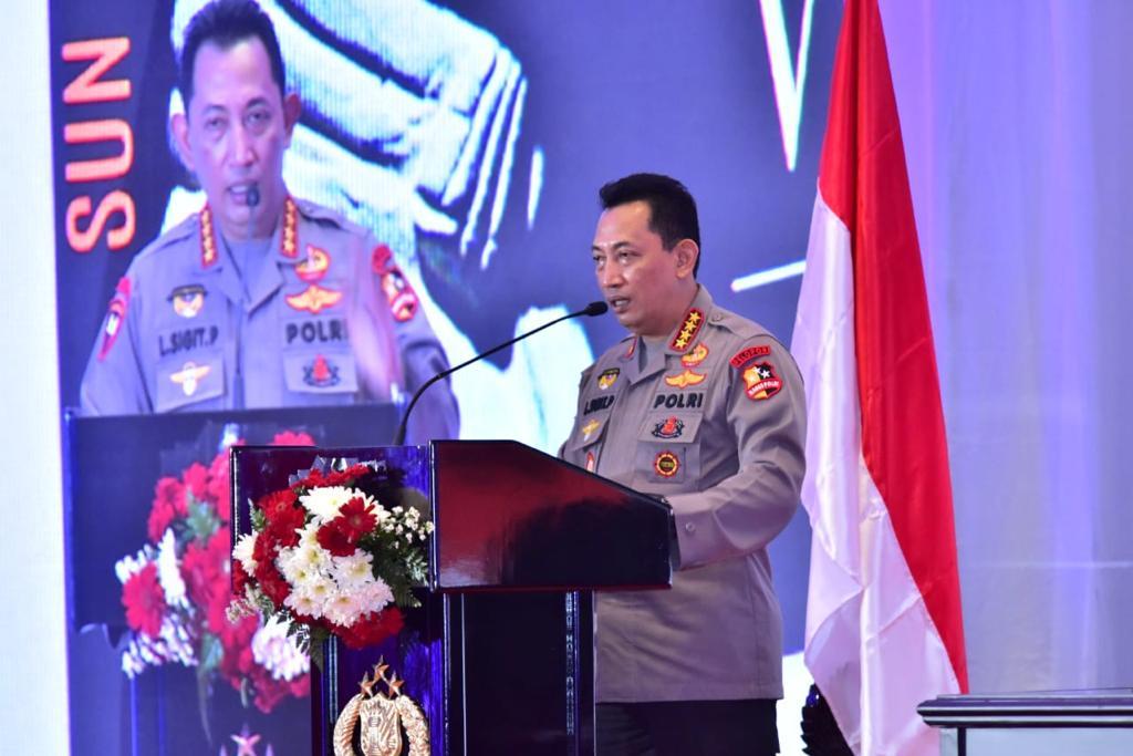 Kapolri Jenderal Listyo Sigit Prabowo membuka Rapat Kerja Teknis Badan Intelijen Keamanan (Baintelkam) Polri, Rabu (17/3).