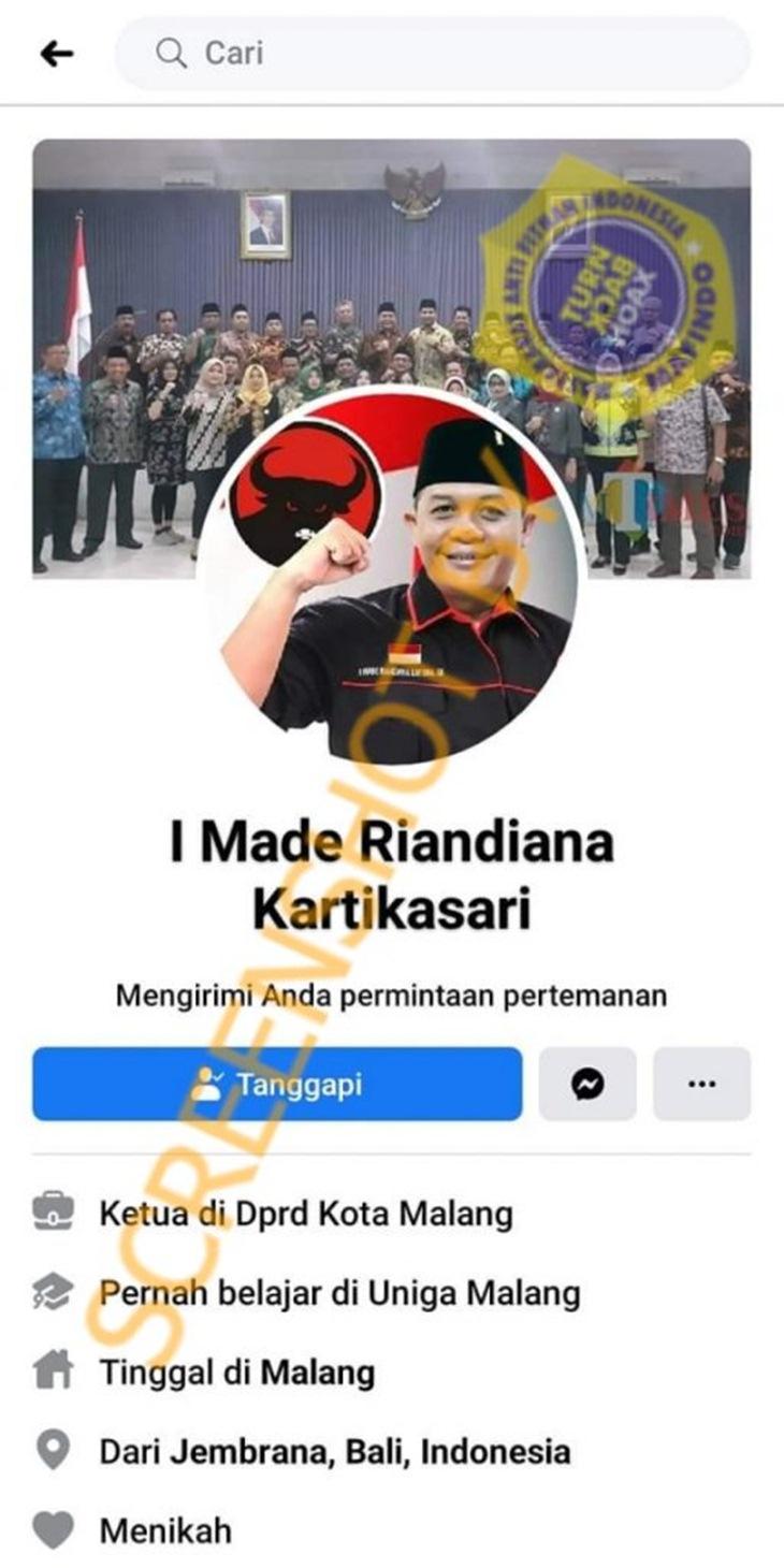 Tangkapan layar soal hoaks pinjaman kredit dari Ketua DPRD Kota Malang. (Foto: MP/Turnbackhoax.id)