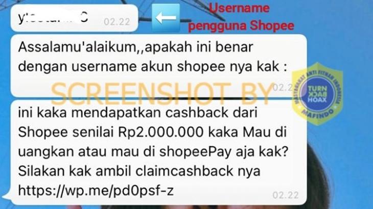 [HOAKS atau FAKTA]: Shopee Bagikan Cashback Rp2 Juta bagi Pemilik Aplikasi