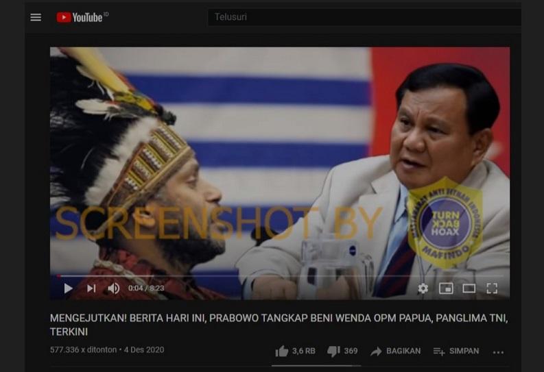 [HOAKS atau FAKTA]:Menhan Prabowo Tangkap Pentolan Papua Merdeka Benny Wenda