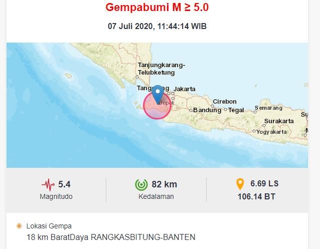 Banten Diguncang Gempa 5,4 Magnitudo, Terasa hingga Jakarta
