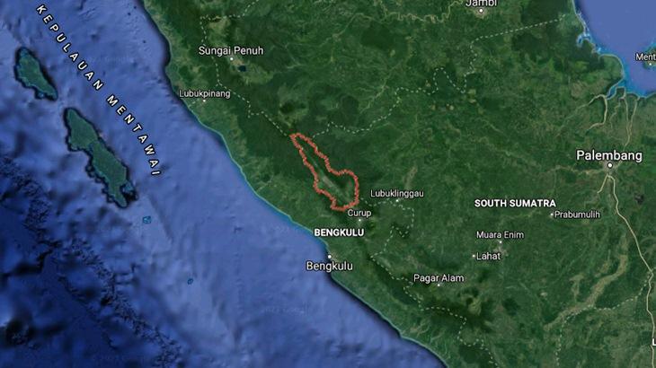 Kabupaten Lebong dalam garis merah. (Foto: MP/Google Maps)